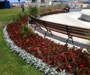 bespoke curved park seat - peoples park Dun Laoghaire